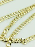 "10K Yellow Gold 3MM Curb Cuban Chain Link Pendant Necklace Bracelet, 24"""