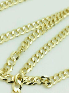 """10K Yellow Gold 3MM Curb Cuban Chain Link Pendant Necklace 24"""""""