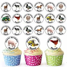 Farm Mix 24 Personalised Pre-Cut Edible Birthday Cupcake Toppers Decorations