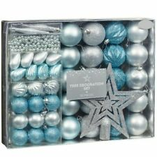 Christmas Tree Decoration Set Of Gorgeous Bauble And Beads Blue & Silver - 50Pcs