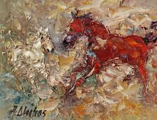 ANDRE DLUHOS ORIGINAL OIL PAINTING Western Horse Equine Equestrian Pony Ranch