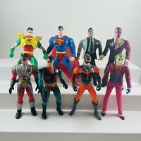 1990's Batman Kenner Lot Of 8 Figures DC Comics Superman Robin Two face