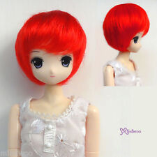 "Mimi Collection 1/6 Bjd Dollfie Short Bob Heat Resistant 3.5"" - 4"" Doll Wig Red"