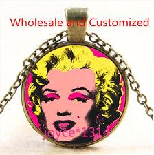 Marilyn Monroe Cabochon bronze Glass Chain Pendant Necklace TS-4699