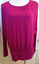 Chico's Size 1 Fuchsia/DeepPink Batwing Dolman Blouse Top Small