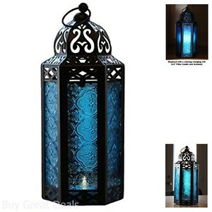 Blue Glass Hanging Moroccan Candle Lantern Chain Blue Outdoor Garden Decoration