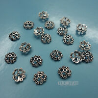 20PC Solid Sterling Silver 6mm Scroll Heart Flower Floral Bead Cap Spacer #33099