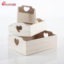 VASSOIO cassetta TRIS 3 pz vaschetta CUORE cm.33-29-24 in legno grezzo decoupage