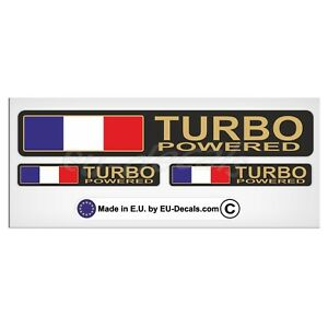 Set Turbo Powered France flag & Gold letters Laminated Decal Sticker Peugeot