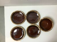 "Vintage Hull Pottery Oven Proof USA Brown Drip Stoneware 6"" diameter set of 5"