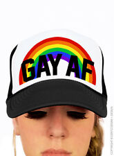 Gay Pride Hat Rainbow Gay AF LGBTQ Support Unisex One Size Baseball Trucker Cap