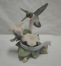 "Lenox Garden Birds Ruby Throated Hummingbird 2007 COA  4.5"" X 5.25"" 24 K Mark"