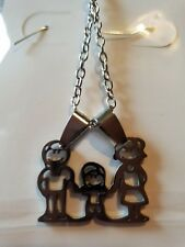 Stainless steel family charm necklace pendant