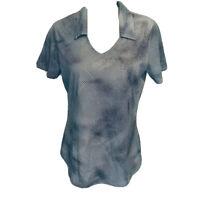Adidas Women's Polo Golf Climacool Black Gray Stripes Shoulder Sport Shirt Sz M