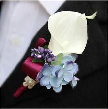 Groom Man Boutonniere Calla Corsage Hydrangea Flower Pin Brooch Wedding Party
