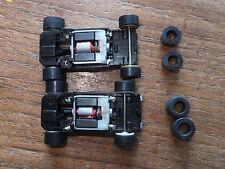 2x Micro Scalextric F1 Chassis W. silicio, nuovo ricostruito, puliti unto HO HORNBY