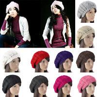 Women Ladies Beret Winter Warm Baggy Beanie Knit Crochet Hat Slouchy Ski Cap Hot