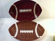 2) FOOTBALL SHAPED SERVING BOWLS----SERVER / TRAY---PLASTIC---SHIPS FREE--NICE