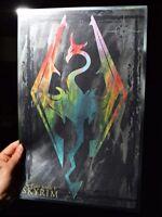 Skyrim rare METALLIC FOIL PRINT 11x17 Gamer Art Dragon