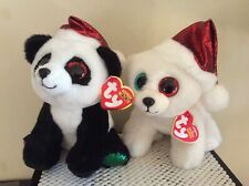 """Ty Christmas Beanie Boos PANDY CLAUS and OSLO 6"""" Store Exclusives~MWMTS"""