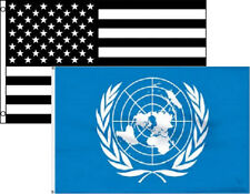 3x5 3'x5' Wholesale Combo Black White Usa & United Nations 2 Flags Flag