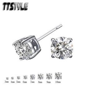 NEW ER22 TT 18K White Gold Plated Round Clear CZ Stud Earrings 4mm-10mm