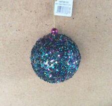 Paquet x 4 à paillettes Paon gamme coloré Ball / Boules Décoration de Noël 80mm
