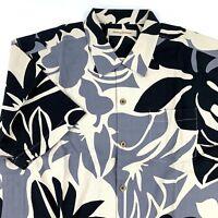 Tommy Bahama Mens Camp Shirt Floral Black 100% Silk New Large L