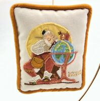 """Vintage Norman Rockwell Christmas Ornament Embroidered Miniature Pillow 5"""" x 4"""""""