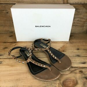 Balenciaga Women's Brown Leather Giant Silver T Strap Studded Sandals 38.5 UK5.5