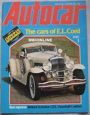 Autocar magazine 17/1/1981 featuring Reliant Scimitar GTE road test, Cord