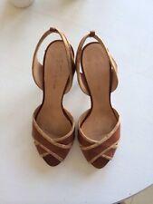 Costume National Tan Shoes Heels 39 8.5 Leather Cork Peep Toe Barneys Co Op