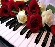 PIANO KEYS RED AND  WHITE ROSES  COMPUTER MOUSE PAD 9 X 7