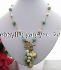 R030413 White Pearl&Amazonite Necklace