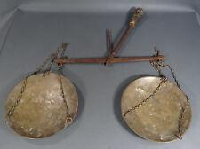 1920's ANTIQUE BRONZE PAN CAST IRON BEAM WOOD TREEN HANDLE BALANCE WEIGHT SCALES