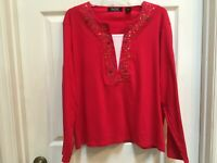 Crystal Kobe Red embellished Top size XL Christmas LS Tee