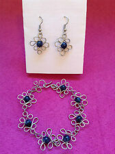 dark blue beads flower design chain mail maille bracelet earrings set
