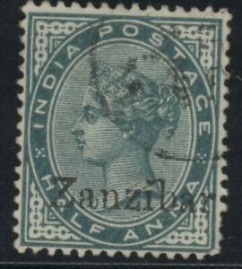 ZAN Queen Victoria Zanzibar 1/2d blue-green stamp (SG3) dated 1895