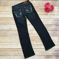 Womens BKE Starlite Dark Flare Jeans Size 25 X 30 Stretch Embellished Low Rise