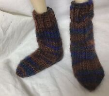 Bjd-Msd 1/4~ Pair Of Variegated Brown & Blue Bulky Short Socks~Never Used!