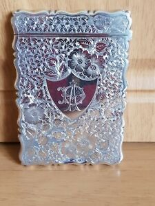 Antique Victorian Engraved Silver Calling Card Case Birmingham 1896 George Unite