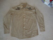 Vintage Chemise Western Rodeo Country Rockabilly Music tan Pearl Snap Shirt L