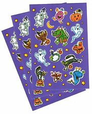 3 Sheets Halloween Stickers! Ghosts Black Cat Skeleton Monsters Goblins