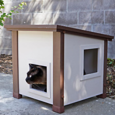 Outdoor Composite Feral Barn Cat Shelter Ventilated Suspended Floor Insulated