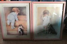 "Bessie Pease Gutmann Framed Prints Double Matted  Nitey Nite Baby Pair 10"" x 9"""