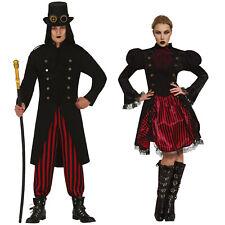 Adult Steampunk Costume Men Ladies Halloween Fancy Dress Couple Victorian