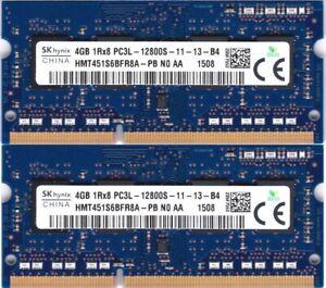 8GB 2x4GB SODIMM DDR3L 1600 mhz - PC3L-12800s - 204 PIN 1,35v 1r*8 MEMORIE HYNIX