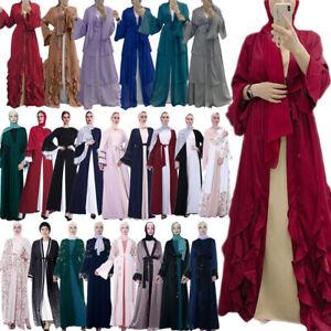 Open Abaya Kimono Cardigan Dubai Women Maxi Dress Muslim Jilbab Kaftan Gown Robe