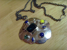 VINTAGE OLD STOCK TURKISH OTTOMAN ANATOLIAN SILVER AND MULTI COLOR NECKLACE, B