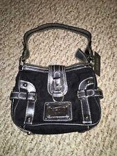 NWT SMALL Black on black signature guess handbag
